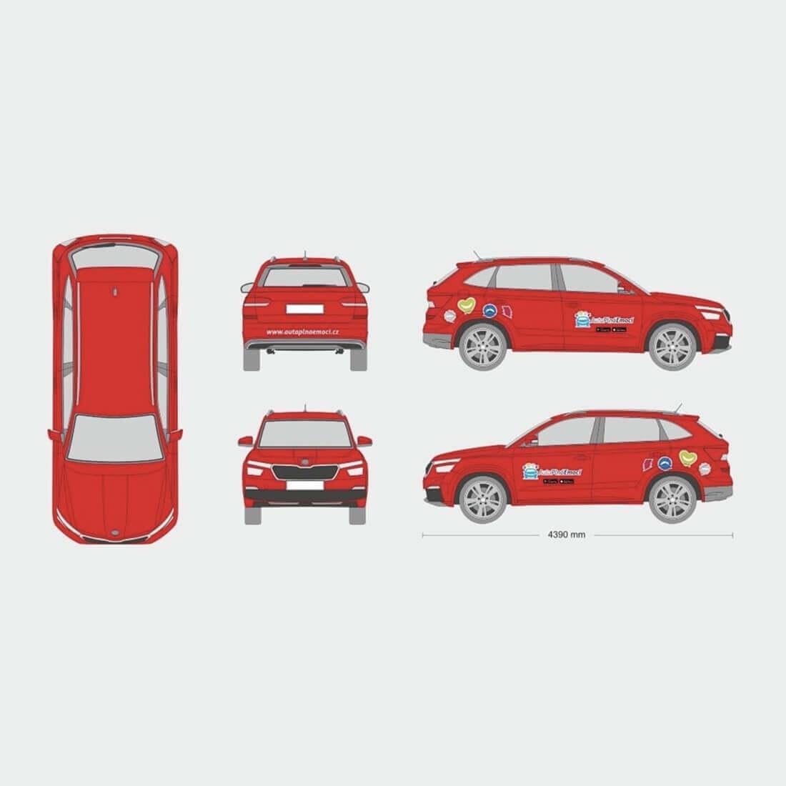 cervene auto navrh polepu